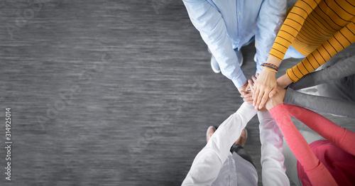 Fototapeta Stack of hands. Unity and teamwork concept. obraz