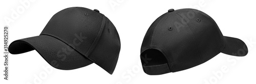 Black baseball cap in angles view front and back Canvas Print