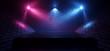 canvas print picture Retro Smoke Fog Dance Floor Stage Brick Walls Concrete Spot LIghts Glowing Blue Purple Empty Space Dark Night Catwalk Cyber 3D Rendering