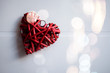 canvas print picture - Red heart and bokeh background