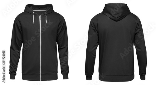 Men's hoodie black with zipper isolated on white background Canvas Print