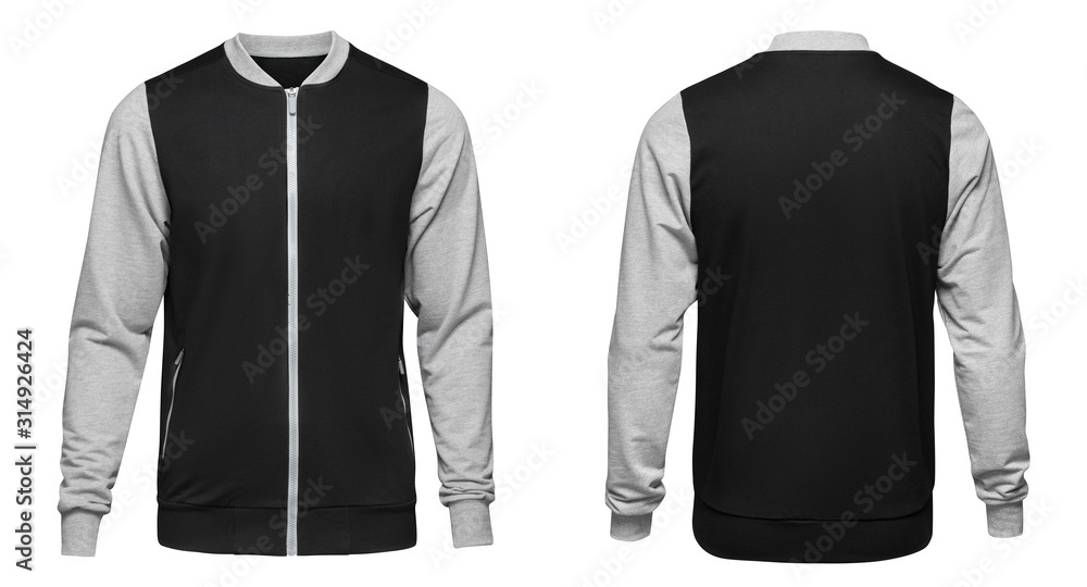 Fototapeta Grey bomber jacket template used for your design isolated on white background