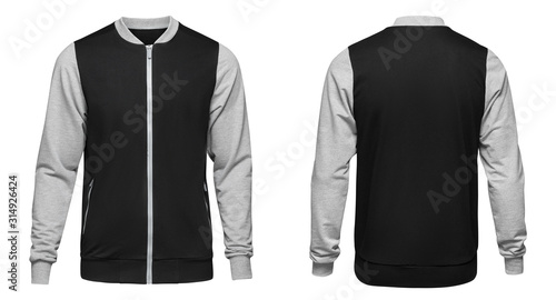 Photo Grey bomber jacket template used for your design isolated on white background