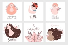 International Women's Day Cards Set. Vector Template With Illustration Of Beautiful Women And Girl Power Lettering. Perfect For Cards, Posters, Flyer And Other Uses. Vector Illustration
