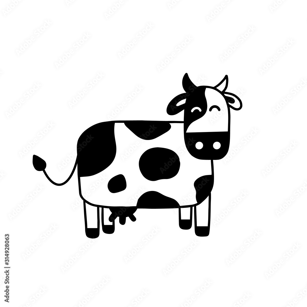 Fototapeta Illustration of doodle cow. Hand drawn cartoon doodle style. Simple brush strokes. Funny cow graphic design for card, poster, postcard, sticker, tee shirt. Hand drawn vector illustration.