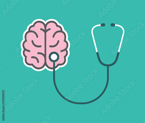 Mental health icon. Stethoscope with Brain. Vector illustration.  Wall mural