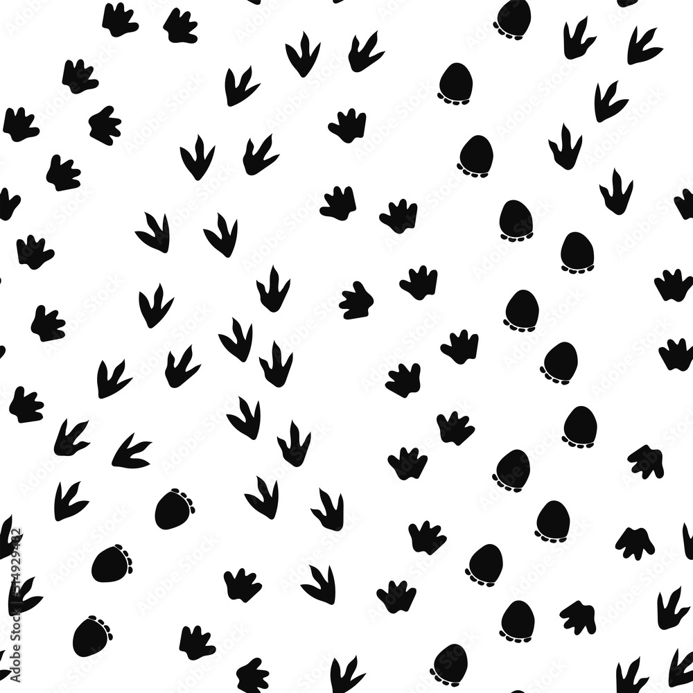 Seamless repeat pattern with different shape black dinosaur foot prints tracks trails on a white background