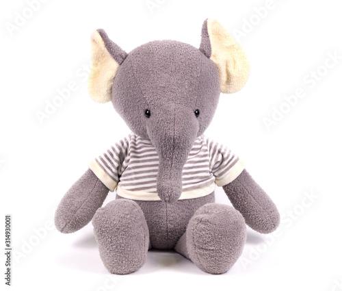 soft toy white background isolated gray elephant in a striped sweater