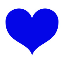 Blue Heart Beautiful Shape Isolated On White Background. A Symbol Of Love, Valentine's Day, The Day Of The Wedding. Template. Suitable For Printing, Design. Vector