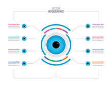 Blue Eye Infographic Template. Eight Options Informational Template. Healthcare Infographic Template