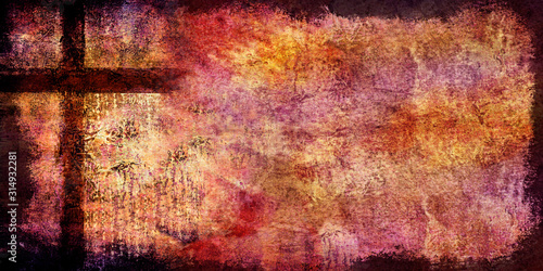 Photo distressed warm backdrop with brown cross