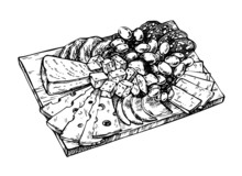 Hand Drawn Sketch Of Cheese, Meat, Grapes, Apples, Salami And Pork On A Wooden Board. Dairy Farm Products Cheese. Engraved Style