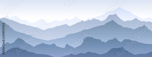 Obraz blue Pattern texture eps 10 illustration background View of blue mountains - vector - fototapety do salonu