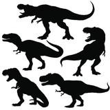 Fototapeta Dinusie - Dinosaur t-rex silhouettes set. Vector illustration isolated on white background