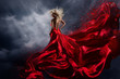 canvas print picture - Woman in Red Dress Dance over Storm Sky, Gown Fluttering Fabric Flying as Splash