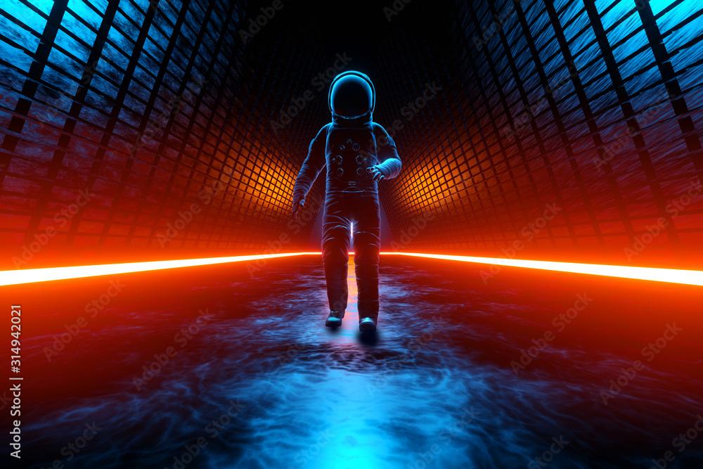 Fototapeta A Astronaut discovering a strange Alien building