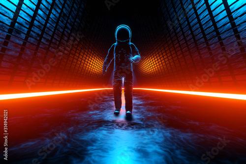 Obraz A Astronaut discovering a strange Alien building - fototapety do salonu