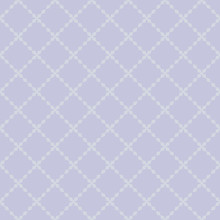 Simple Geometric Seamless Pattern. Vector Minimal Texture With Floral Shapes, Diamonds, Grid, Net, Mesh, Lattice. Abstract Minimalist Background In Light Lilac Pastel Colors. Subtle Repeated Design