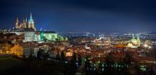 Beautiful Panorama Of Night Prague