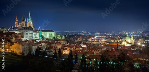 Photo Beautiful panorama of night Prague