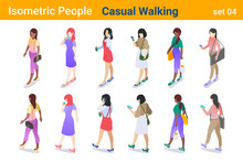 Isometric Casual People Flat Vector Collection. Woman Girl Walking And Talking Or Looking On Mobile Phone  Back And Front Poses