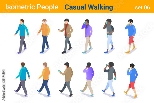 Fototapeta Isometric Casual People flat vector collection. Man walking, talking or looking on Mobile phone, back and front poses obraz
