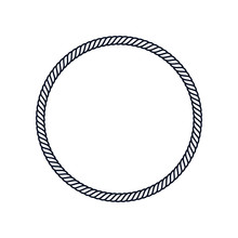 Circle Rope Frame -Endless Rope Loop Isolated On White, Including Clipping Path.