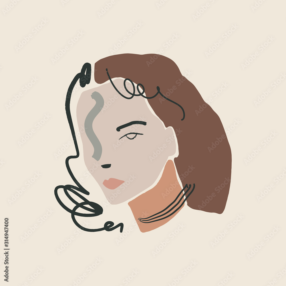 Modern Boho Pastel Terracotta Collage Line Drawing Woman Face Hairstyle Fashion Beauty Minimalist Vector Illustration Modern Abstract Graphics Print