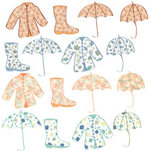 Vector Green Yellow Blue Orange Yellow Rain Coats, Boots Umbrellas Icon Set On White Background. Clip Art For Embellishing Cards, Newsletters, Scrapbooking.