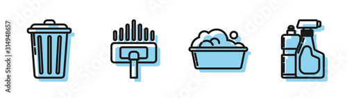 Set line Plastic basin with soap suds , Trash can , Vacuum cleaner and Plastic bottles for liquid dishwashing liquid icon. Vector