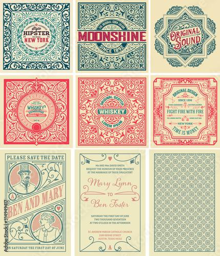 Fotomural Set of 9 vintage labels. Vector layered