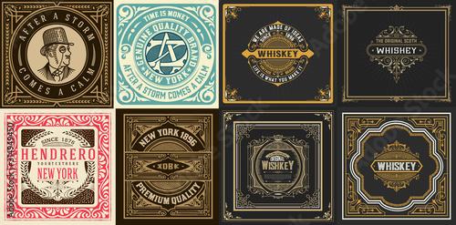 Obraz Mega set of 8 vintage labels. Vector layered - fototapety do salonu