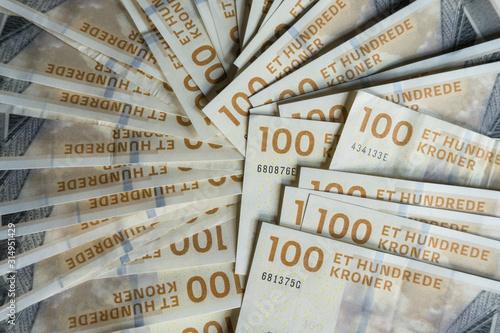 Valokuva  100 Danish Kroner banknotes, notes