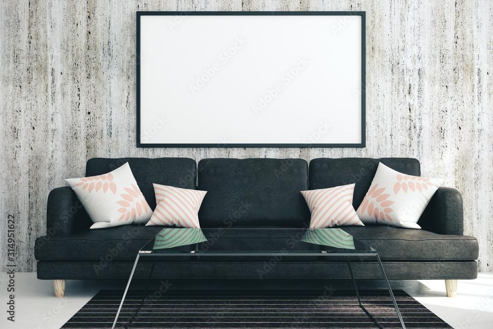 Fototapeta Modern living room with blank poster