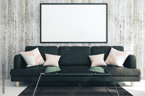 plakat Modern living room with blank poster
