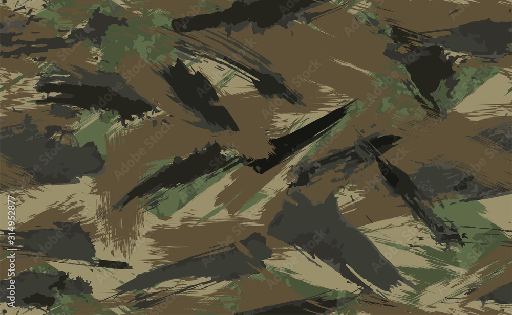 Fototapeta Seamless Brush Stroke Camouflage print. Vector pattern Green brown black olive colors forest texture. Fabric and fashion textile paint. Camouflage pattern background. Vector Seamless Camouflage