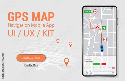 Foto Map GPS Navigation Smartphone App Screen