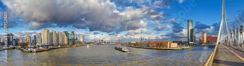 Cityscape, panorama, banner - view from the Erasmus Bridge to the River Maas and Wallpaper Mural