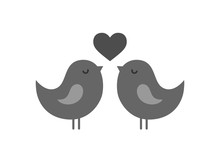 Couple Love Birds With Heart. Love Symbol. Valentine's Day Design Element