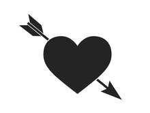 Heart With Arrow Icon. Love Symbol. Valentine's Day Design Element