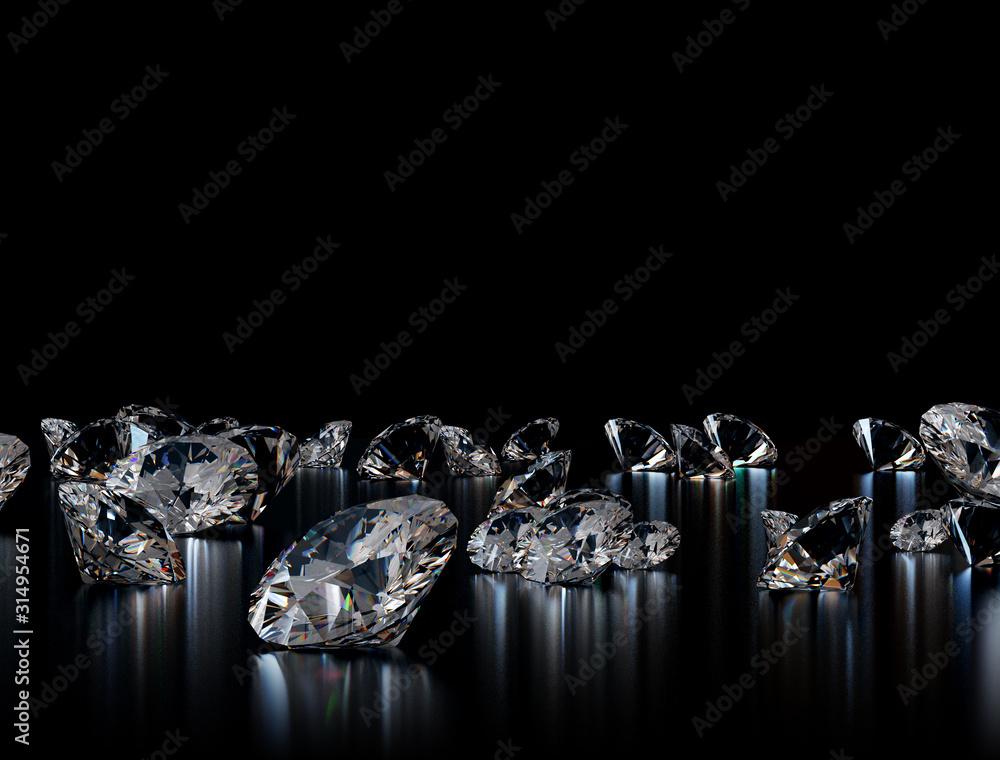 Fototapeta Diamonds on black background. 3D illustration