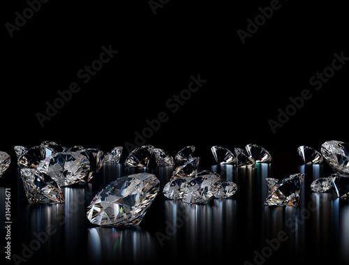 Fototapeta Diament  diamonds-on-black-background-3d-illustration