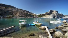 Boats In St Paul's Bay Lindos ...