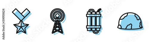 Set line Detonate dynamite bomb stick, Military reward medal , Radar and Military helmet icon Tablou Canvas