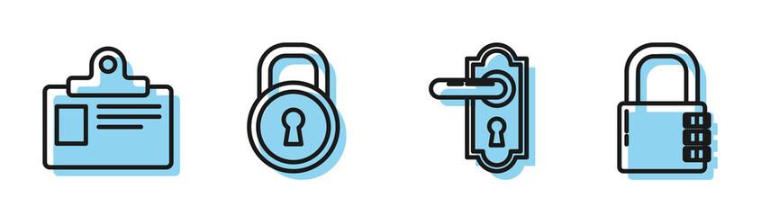 Set line Door handle , Identification badge, Lock and Safe combination lock icon. Vector