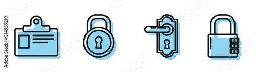 Fototapeta Set line Door handle , Identification badge, Lock and Safe combination lock icon. Vector obraz