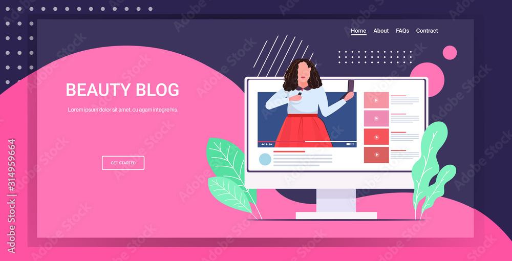 Fototapeta beauty blogger applying lipstick woman showing trend makeup tutorial blogging concept portrait computer monitor screen horizontal copy space vector illustration