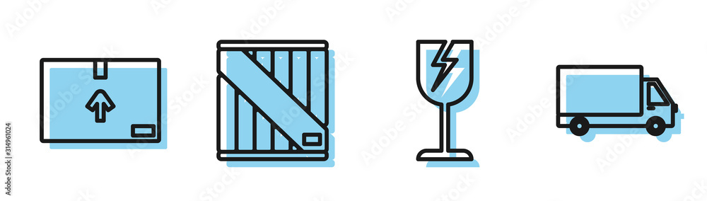 Fototapeta Set line Fragile broken glass symbol, Cardboard box with traffic symbol , Wooden box and Delivery cargo truck vehicle icon. Vector