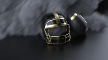 American Football Gold-black Helmet And Ball With Dark Black Toned Foggy Blur Smoke Under Black-white Laser Lighting. 3D Illustration. 3D High Quality Rendering.