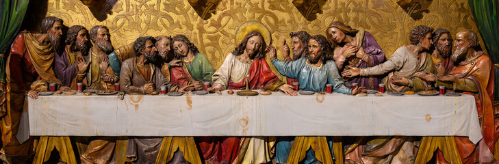 Bratislava, Slovakia. 2019/11/4. A sculpture of the Last Supper according to ...